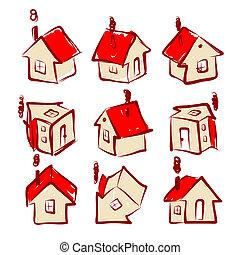casa, diseño determinado, su, iconos