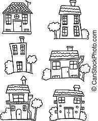 casa, disegnare, set, colletion, mano