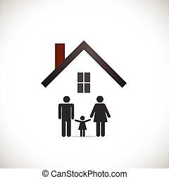 casa, disegno, famiglia, illustrazione