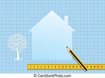 casa, disegno, piano