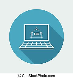 casa, disegno, progetto, -, vettore, appartamento, icona