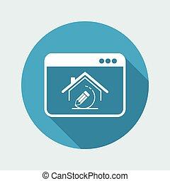 casa, disegno, progetto, -, vettore, icona, di, computer,...