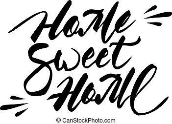 casa doce casa, mão, lettering.