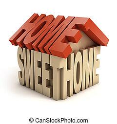 casa, dolce, lettere, 3d