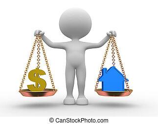 casa, dollaro, o, segno