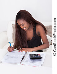 casa, donna, finanza, calcolatore