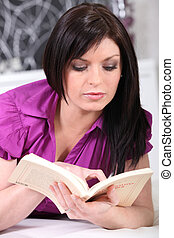 casa, donna, libro, lettura