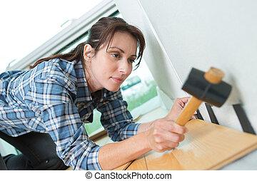 casa, donna, martello, bricolage, usando