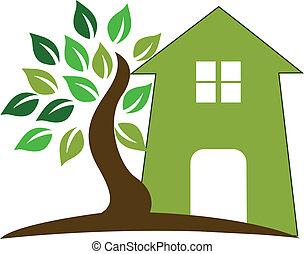 casa, e, albero, logotipo
