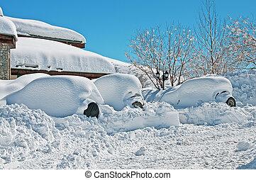 casa, e, carros, sob, a, neve