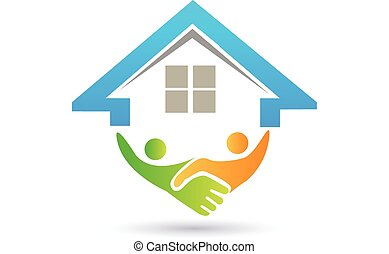 casa, e, handshaking, vetorial, imagem, conceito, de,...
