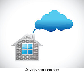 casa, e, sogno, nuvola, illustrazione, disegno
