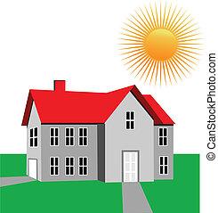 casa, e, sol, logotipo, vetorial