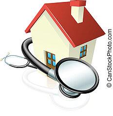 casa, e, stetoscopio, concetto