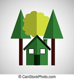 casa, ecológico, árvore verde, desenho