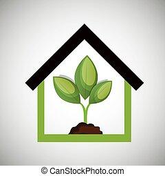 casa, ecológico, desenho, planta, ícone