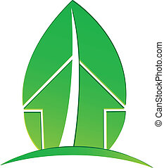 casa, ecológico, hoja, verde, logotipo