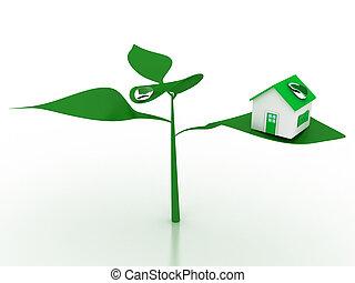 casa, ecológico, venda