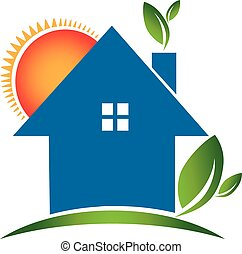 casa, ecología, logotipo