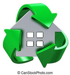 casa, ecologia, conceito