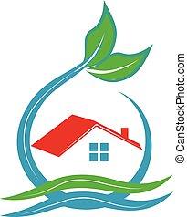 casa, ecologia, logotipo
