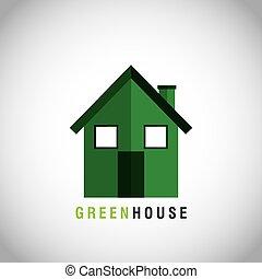 casa, ecologia, verde, icona