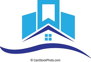 casa, edificios, logotipo