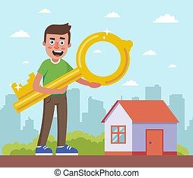 casa, el suyo, city., plano de fondo, llave, tenencia, hombre
