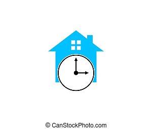casa, elemento, desenho, tempo, logotipo, ícone