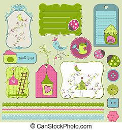 casa, elementos, desenho, pássaro