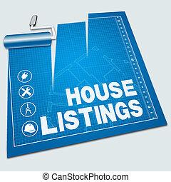 casa, elenchi, vendita, illustrazione, proprietà, mostra, 3d