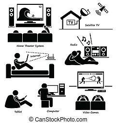 casa, elettronico, apparecchi, icone