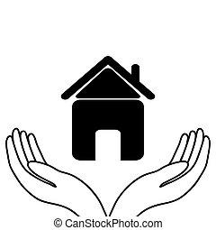 casa, em, a, mãos