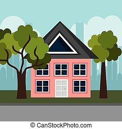 casa, em, a, vizinhança, cena
