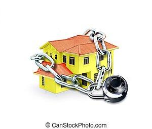 casa, em, corrente, e, cadeado combinação
