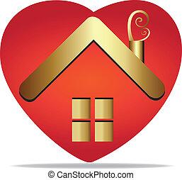 casa, em, um, coração, logotipo, vetorial