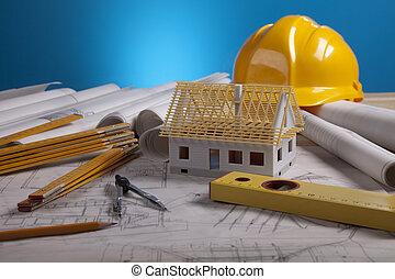 casa, en, achitecture, planes
