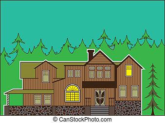 casa, en, el, bosque