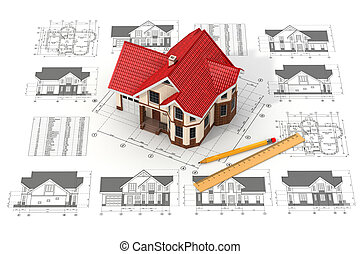 casa, en, el, bosquejos, en, diferente, proyecciones, y, blueprints.