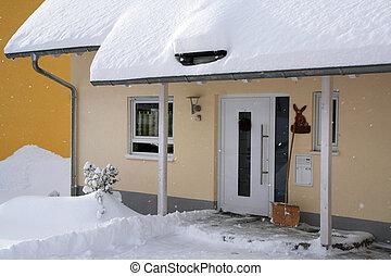 casa, en, el, invierno