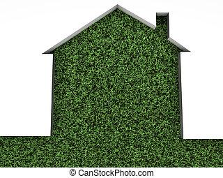 casa, en, hierba verde
