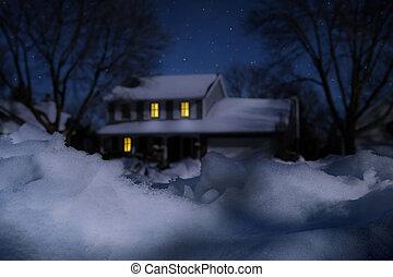 casa, en, invierno, en, un, iluminado por la luna, noche