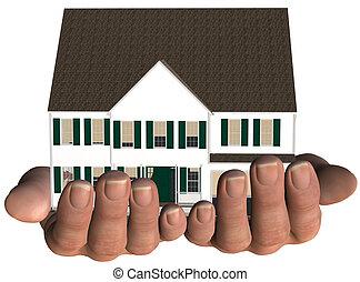 casa, en, manos, hogar, bienes raíces, oferta