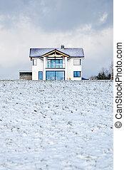 casa, en, un, invierno, pradera