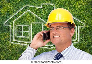 casa, encima, contratista, teléfono celular, hardhat, pasto o césped, icono