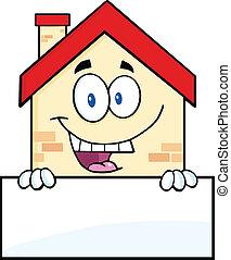 casa, encima, señal, feliz, blanco