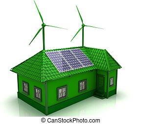 casa, energía, ahorro, concepto