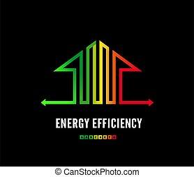 casa, energía, clase, negro, design., ilustración, eco, signo., hogar, vector, eficiencia, logotipo