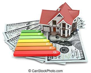 casa, energía, concept., eficiencia