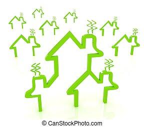 casa, energía, concepto, excepto
